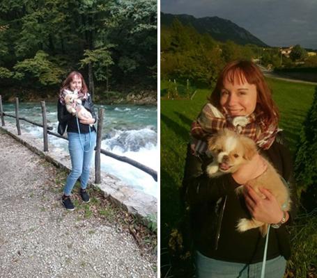 Tudi to je reka v Ajdovščini in jaz s svojim domačim ljubljenčkom Busikom. Dobila sem ga v Sloveniji